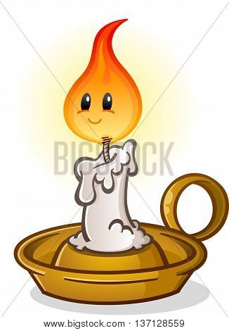 Antique Candle Stick Cartoon Character with Flame