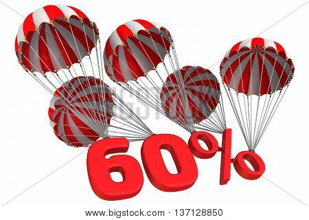 Sixty percent is falling down on parachute. Isolated. 3D Illustration