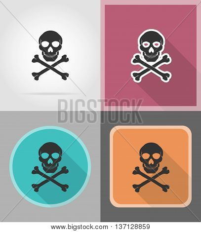pirate skull and crossbones flat icons vector illustration isolated on background