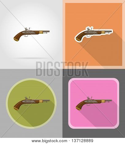old retro flintlock pistol flat icons vector illustration isolated on background