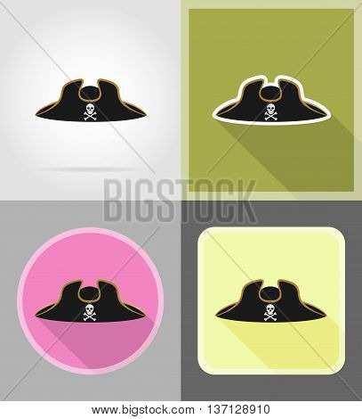 pirate hat tricorn flat icons vector illustration isolated on background