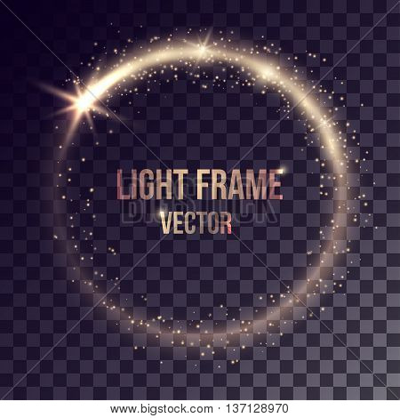 Vector golden light frame on transparent background. Shiny particles and flares on magic ring.