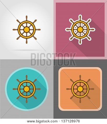 steering wheel for ship flat icons vector illustration isolated on background