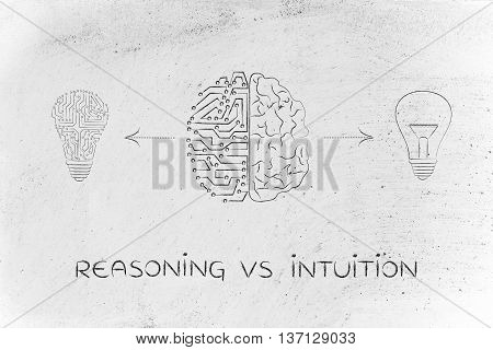 Human & Circuit Brain Having Different Types Of Ideas, Reasoning Vs Intuition