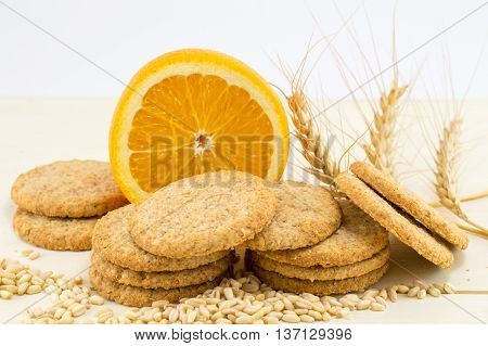 Integral Biscuits With Orange And Wheat Seeds