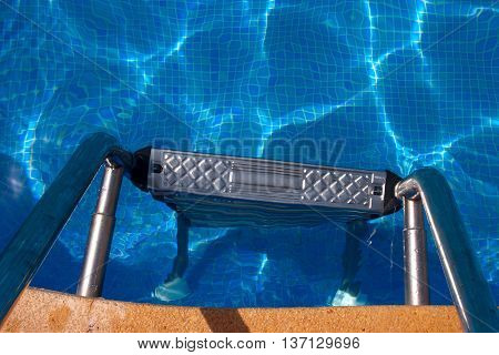 Top view of a swimming pool staircase