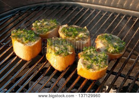 Garlic Breads On A Barbecue