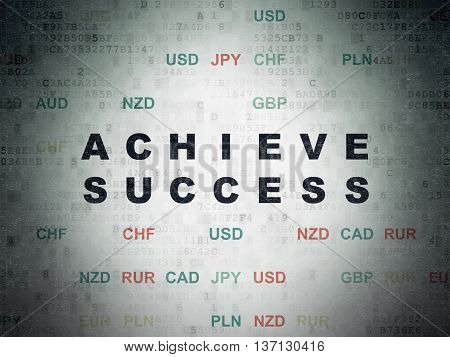 Business concept: Painted black text Achieve Success on Digital Data Paper background with Currency