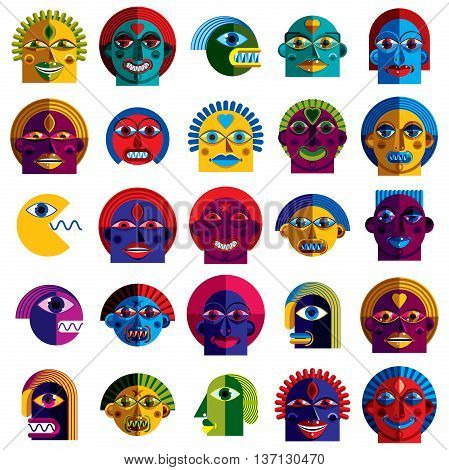 Set of vector bizarre creatures modern art colorful drawings of imaginative beings. Fantastic odd characters can be used as user avatar icon or in graphic design.