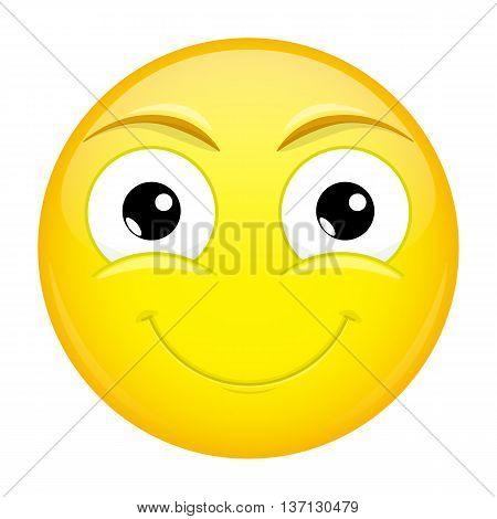 Smiling emoji. Good emotion. Happy emoticon. Vector illustration icon.