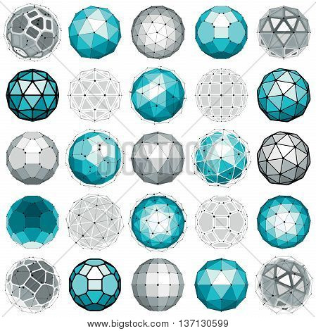 Set of perspective technology shapes polygonal wireframe objects collection. Abstract faceted elements for use as design structures on communication technology theme