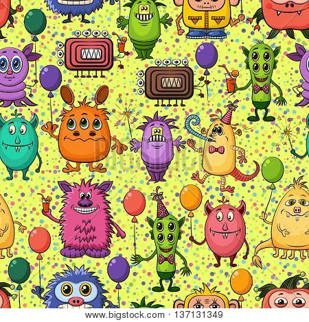 Seamless Background for Your Holiday Party Design with Different Cartoon Monsters, Colorful Tile Pattern with Cute Funny Characters, Feasting with Balloons, Sparklers and Cocktails. Vector