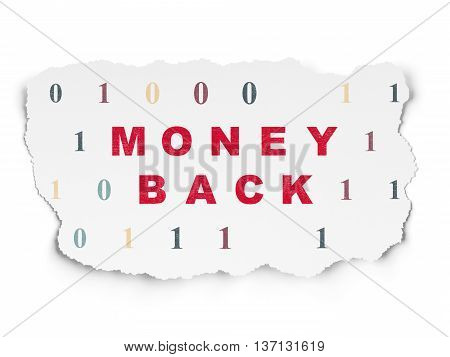 Business concept: Painted red text Money Back on Torn Paper background with  Binary Code