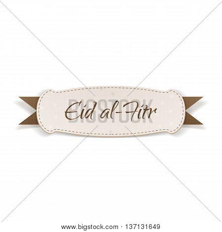 Eid al-Fitr realistic textile Tag. Vector Illustration