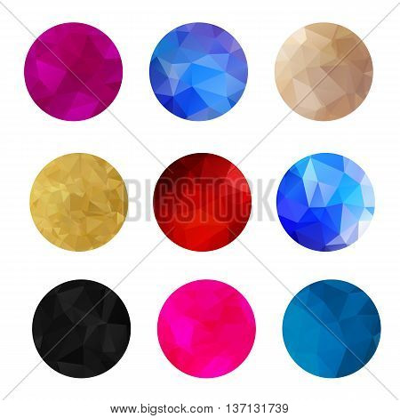 Trendy modern abstract colorful round icon elements in polygonal triangular geometric pattern. Design for your logo, logotype, banner, flyer, design elements. Business geometric design shapes.