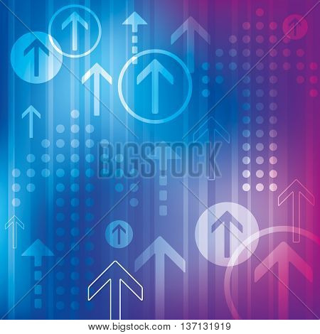 A vibrant blue and purple abstract background with arrows