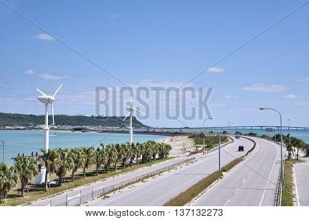 Okinawa Prefecture Uruma attractions winter sea road