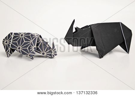 A big rhino and a small rhino origami
