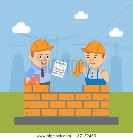 Vector clipart businessman and builder's signed contract