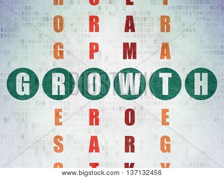 Finance concept: Painted green word Growth in solving Crossword Puzzle on Digital Data Paper background