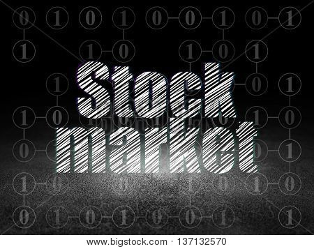 Finance concept: Glowing text Stock Market in grunge dark room with Dirty Floor, black background with Scheme Of Binary Code