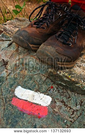 Trail Marker And Boots