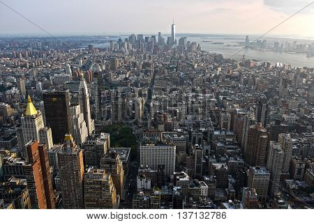 New York City, New York, USA July 23, 2014: Aerial view of Manhattan from the terrace of the Empire State building