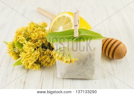 Tea Of Linden Trees With Fresh Flowers And Lemon