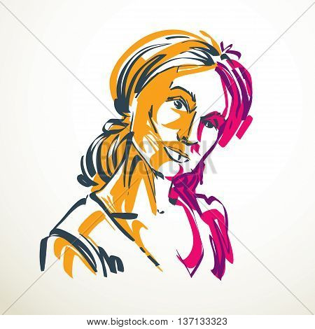 Vector drawing of beautiful tender woman portrait in minimal style. Colorful illustration emotional expressions of nice lady.