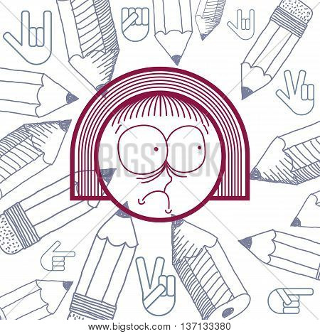 Vector graphic colorful drawing of personality face surprised female with stylish haircut. Social network theme illustration. Human emotions idea.