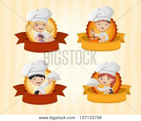 Vector banners / backgrounds with cartoon chefs cooking and holding tray with food. Design text ribbons.