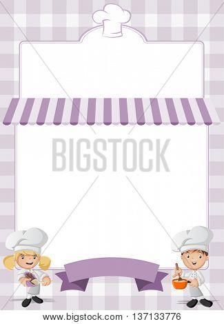 Purple restaurant menu with cartoon chefs cooking.