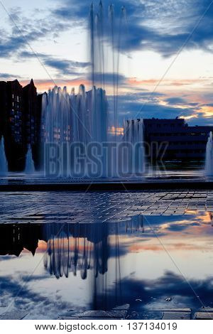 Beautiful fountain shot during the night. Novokuznetsk Russian city