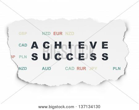 Business concept: Painted black text Achieve Success on Torn Paper background with  Currency