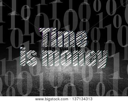 Finance concept: Glowing text Time Is money in grunge dark room with Dirty Floor, black background with  Binary Code