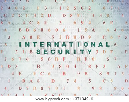 Security concept: Painted green text International Security on Digital Data Paper background with Hexadecimal Code