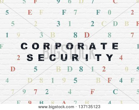 Security concept: Painted black text Corporate Security on White Brick wall background with Hexadecimal Code