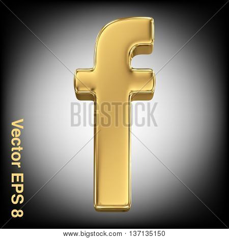 Vector letter f from gold solid alphabet. Eps 8 using mesh.