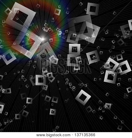 Abstract square background design with light on black