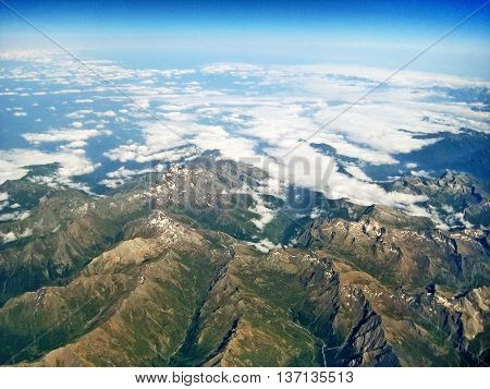 Mountain Landscape Near Monte Viso, Italy - Aerial View