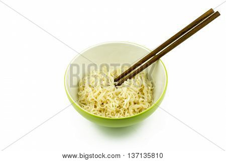 Instant Noodles In Green Cup Isolated On White Background