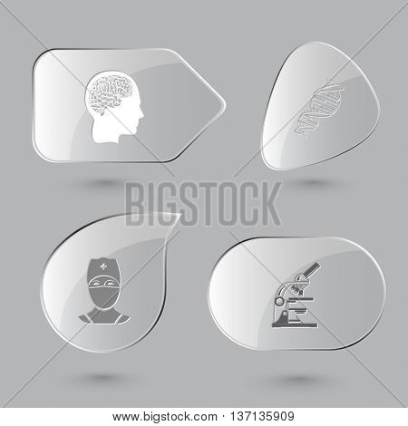 4 images: human brain, dna, doctor, lab microscope. Medical set. Glass buttons on gray background. Vector icons.
