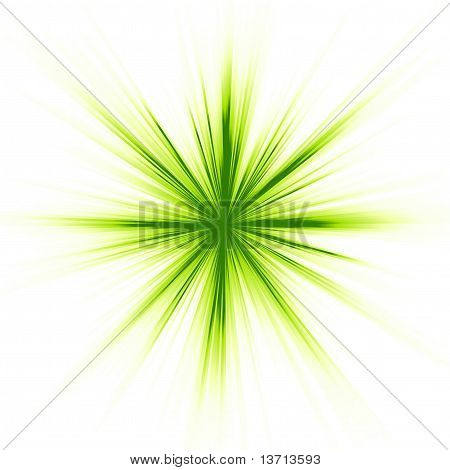 Green light, star burst on white