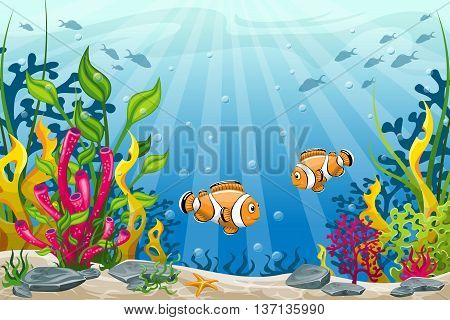 Illustration of underwater landscape with tow clownfish