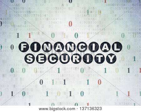 Safety concept: Painted black text Financial Security on Digital Data Paper background with Binary Code