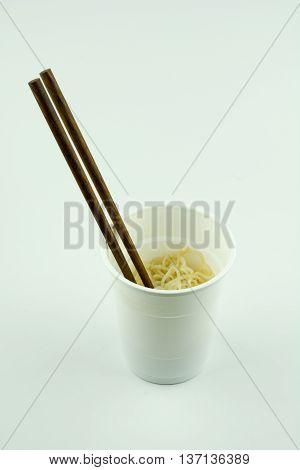Instant noodles cup food on white background