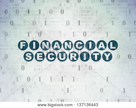 Privacy concept: Painted blue text Financial Security on Digital Data Paper background with Binary Code