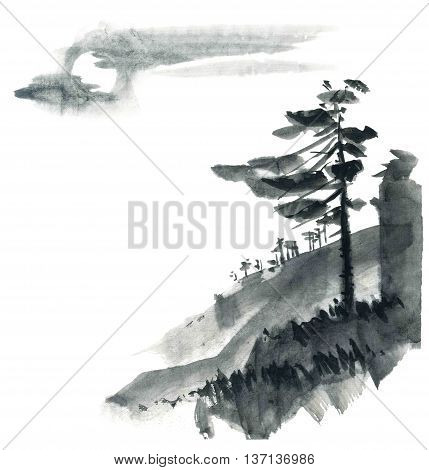 Watercolor and ink chinese landscape - sky pine trees. Sumi-e u-sin gohua painting.