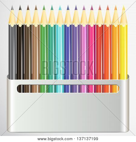 Box of pencils on white background. Vector illustration.