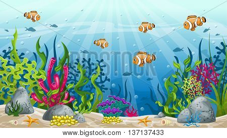 Illustration of underwater landscape with some clownfish